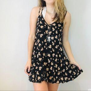 Brandy Melville black floral low back dress